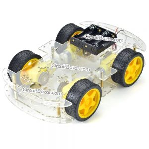 4WD Acrylic smart Car Chassis With Gear Motor Intelligent Car Robot Chassis with Speed Encoder Car DIY Kit
